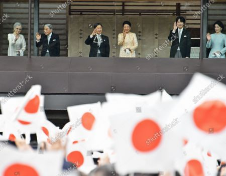 (L-R)Japan's Empress Emerita Michiko, Emperor Emeritus Akihito, Emperor Naruhito, Empress Masako, Crown Prince Akishino, Crown Princess Kiko wave to well-wishers during a new year greeting at the East Plaza, Imperial Palace in Tokyo, Japan, on Thursday, January 2, 2020. Japan's Emperor Naruhito delivered his first new year's address on his enthronement last year, expressing his sympathy to survivors of recent natural disasters and hope will be a peaceful year without any disaster and for the happiness for the people in Japan and around the world.