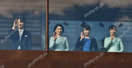 (L-R)Japan's Crown Prince Akishino, Crown Princess Kiko, Princess Mako and Princess Kako attend the new year greeting at the East Plaza, Imperial Palace in Tokyo, Japan, on Thursday, January 2, 2020. Japan's Emperor Naruhito delivered his first new year's address on his enthronement last year, expressing his sympathy to survivors of recent natural disasters and hope will be a peaceful year without any disaster and for the happiness for the people in Japan and around the world.