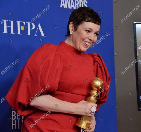 Olivia Coleman appears backstage after winning the award for Best Performance by an Actress in a Television Series - Drama for 'The Crown' during the 77th annual Golden Globe Awards, honoring the best in film and American television of 2020 at the Beverly Hilton Hotel in Beverly Hills, California on Sunday, January 5, 2020.