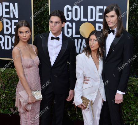 Paris Brosnan (2nd L), Dylan Brosnan (R), and guests attend the 77th annual Golden Globe Awards, honoring the best in film and American television of 2020 at the Beverly Hilton Hotel in Beverly Hills, California on Sunday, January 5, 2020.