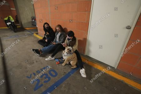 People gather outside thier building with their pet after a strong earthquake, in Mexico City, . The quake struck southern Mexico near the resort of Acapulco, causing buildings to rock and sway in Mexico City nearly 200 miles away