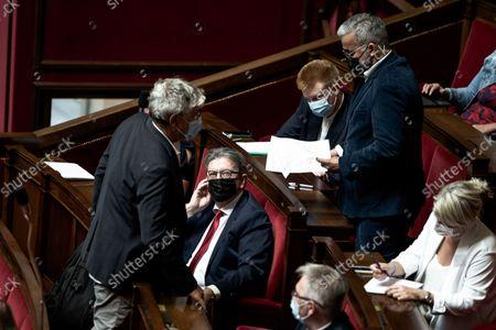 Eric Coquerel, Jean-Luc Melenchon, Alexis Corbiere.