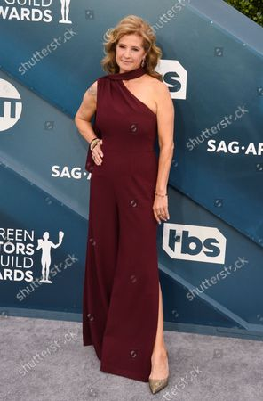 Nancy Travis arrives for the 26th annual SAG Awards held at the Shrine Auditorium in Los Angeles on Sunday, January 19, 2020. The Screen Actors Guild Awards will be broadcast live on TNT and TBS.
