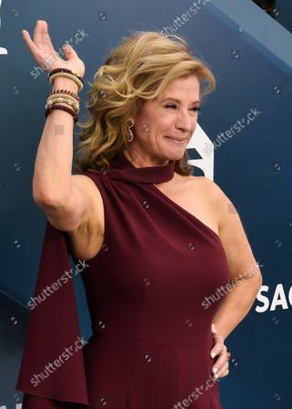 Stock Picture of Nancy Travis arrives for the 26th annual SAG Awards held at the Shrine Auditorium in Los Angeles on Sunday, January 19, 2020. The Screen Actors Guild Awards will be broadcast live on TNT and TBS.
