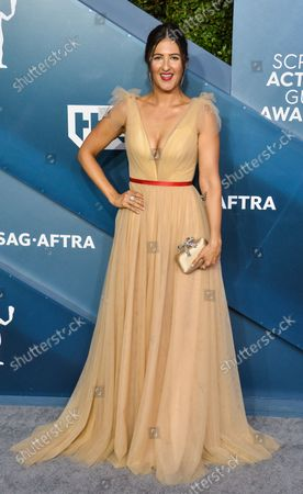 D'Arcy Carden arrives for the 26th annual SAG Awards held at the Shrine Auditorium in Los Angeles on Sunday, January 19, 2020. The Screen Actors Guild Awards will be broadcast live on TNT and TBS.