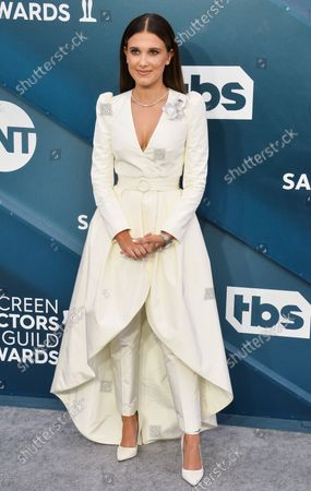 Millie Bobby Brown arrives for the 26th annual SAG Awards held at the Shrine Auditorium in Los Angeles on Sunday, January 19, 2020. The Screen Actors Guild Awards will be broadcast live on TNT and TBS.
