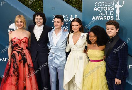 (L-R) Cara Buono, Finn Wolfhard, Noah Schnapp, Millie Bobby Brown, Priah Ferguson, and Gaten Matarazzo arrive for the 26th annual SAG Awards held at the Shrine Auditorium in Los Angeles on Sunday, January 19, 2020. The Screen Actors Guild Awards will be broadcast live on TNT and TBS.