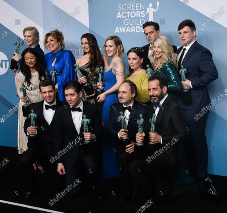 Caroline Aaron, Jane Lynch, Stephanie Hsu, Marin Hinkle, Rachel Brosnahan, Alex Borstein, Matilda Szydagis, Joel Johnstone, Luke Kirby, Michael Zegen, Kevin Pollak, and Tony Shalhoub appear backstage with the award for Outstanding Performance by an Ensemble in a Comedy Series for 'The Marvelous Mrs. Maisel', during the 26th annual SAG Awards held at the Shrine Auditorium in Los Angeles on Sunday, January 19, 2020. The Screen Actors Guild Awards will be broadcast live on TNT and TBS.