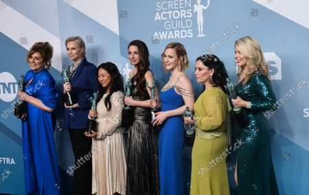 (L-R) Caroline Aaron, Jane Lynch, Stephanie Hsu, Marin Hinkle, Rachel Brosnahan, Alex Borstein and Matilda Szydagis appear backstage with the award for Outstanding Performance by an Ensemble in a Comedy Series for 'The Marvelous Mrs. Maisel', during the 26th annual SAG Awards held at the Shrine Auditorium in Los Angeles on Sunday, January 19, 2020. The Screen Actors Guild Awards will be broadcast live on TNT and TBS.