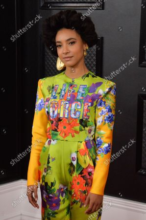 Esperanza Spalding arrives for the 62nd annual Grammy Awards held at Staples Center in Los Angeles on Sunday, January 26, 2020.