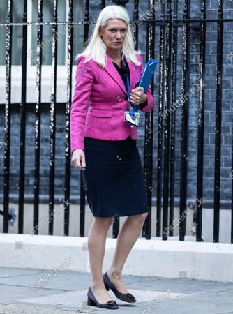 Stock Picture of Amanda Milling departs after a cabinet meeting in Downing Street, London.This was the first in person cabinet meeting of the year as Prime Minister Boris Johnson later announced a 1.25% rise in National Insurance Contributions to pay for social care.