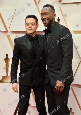 Rami Malek and Mahershala Ali arrive for the 92nd annual Academy Awards at the Dolby Theatre in the Hollywood section of Los Angeles on Sunday, February 9, 2020.