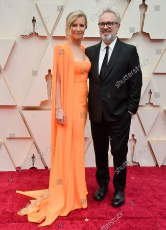 Alison Balsom and Sam Mendes arrive for the 92nd annual Academy Awards at the Dolby Theatre in the Hollywood section of Los Angeles on Sunday, February 9, 2020.