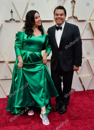 Kristen Anderson-Lopez and Robert Lopez arrive for the 92nd annual Academy Awards at the Dolby Theatre in the Hollywood section of Los Angeles on Sunday, February 9, 2020.