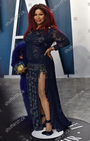 Stock Photo of Chaka Khan arrives for the Vanity Fair Oscar party at the Wallis Annenberg Center for the Performing Arts in Beverly Hills, California on February 9, 2020.