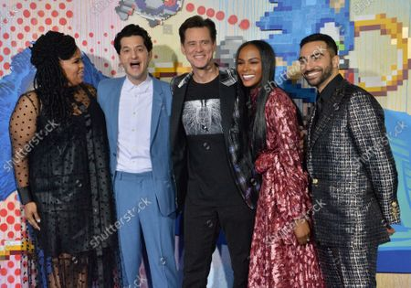 """Cast members Natasha Rothwell, Ben Schwartz, Jim Carrey, Tika Sumpter and Lee Majdoub (L-R) attend a special screening of the sci-fi family comedy adventure film """"Sonic the Hedgehog"""" at the Regency Village Theatre in the Westwood section of Los Angeles on Wednesday, February 12, 2020. Storyline: Based on the global blockbuster videogame franchise from Sega, """"Sonic"""" tells the story of the world's speediest hedgehog as he embraces his new home on Earth. In this live-action adventure comedy, Sonic and his new best friend Tom (James Marsden) team up to defend the planet from the evil genius Dr. Robotnik (Jim Carrey) and his plans for world domination."""