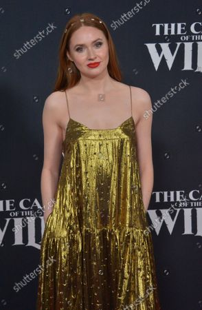 """Cast member Karen Gillan attends the premiere of the adventure motion picture drama """"The Call of the Wild"""" at the El Capitan Theatre in the Hollywood section of Los Angeles on Thursday, February 13, 2020. Storyline: Buck, a big-hearted dog whose blissful domestic life is turned upside down when he is suddenly uprooted from his California home and transported to the wilds of the CanadianYukon during the Gold Rush of the 1890s."""