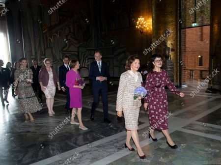 Crown Princess Victoria, Prince Daniel, Elke Budenbender and Queen Silvia arrive at the lunch for the German President at City Hall