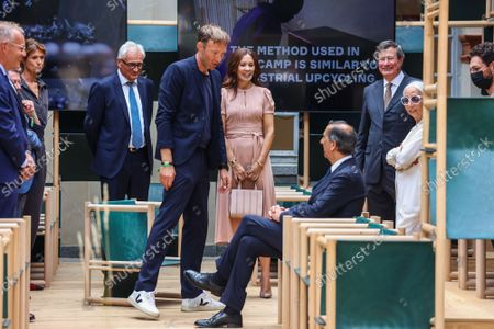 Princess Mary, Mayor Giuseppe Sala, Rossana Orlandi, the designer of the installation `School of Hope' during the visit of the Danish installations and companies at the Museum of Science and Technology at the Fuorisalone 2021
