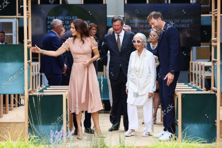 Princess Mary, Mayor Giuseppe Sala, Fiorenzo Galli, Rossana Orlandi and the designers of the installation `School of Hope' during the visit of the Danish installations and companies at the Museum of Science and Technology at the Fuorisalone 2021