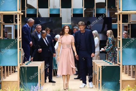 Princess Mary, Mayor Giuseppe Sala, the designers of the installation `School of Hope' during the visit of the Danish installations and companies at the Museum of Science and Technology at the Fuorisalone 2021
