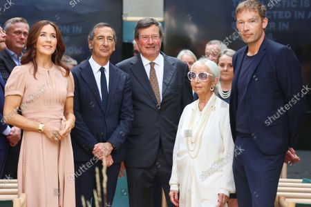 The Princess Mary, Mayor of Milan Giuseppe Sala, Fiorenzo Galli, Rossana Orlandi and the designer of the installation 'School of Hope' during the visit of the Danish installations and companies at the Museum of Science and Technology at the Fuorisalone 2021