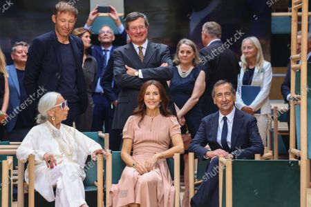 The designers of installation 'School of Hope' ,Rossana Orlandi, Fiorenzo Galli, the Princess Mary, Mayor of Milan Giuseppe Sala, during the visit of the Danish installations and companies at the Museum of Science and Technology at the Fuorisalone 2021