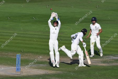 John Simpson stretches to field the ball during the LV= Insurance County Championship match between Sussex County Cricket Club and Middlesex County Cricket Club at the 1st Central County Ground, Hove