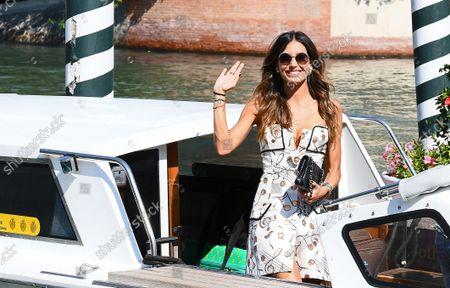 Elisabetta Gregoraci arrives at the Darsena of Hotel Excelsior for the 78th Venice Film Festival