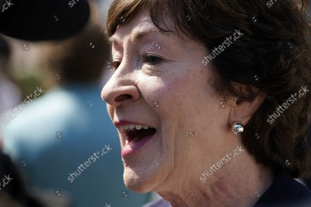 Sen. Susan Collins, R-Maine, speaks at a groundbreaking ceremony for a $1.7 billion dry dock project at Portsmouth Naval Shipyard, in Kittery, Maine. King is recovering from COVID-19
