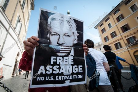 Supporters of Julian Assange protest in front of the Chamber of Deputies Montecitorio square, in Rome, Italy, on September 8, 2021. Julian Assange's appeal trial will take place in London on 27 and 28 October 2021.y.