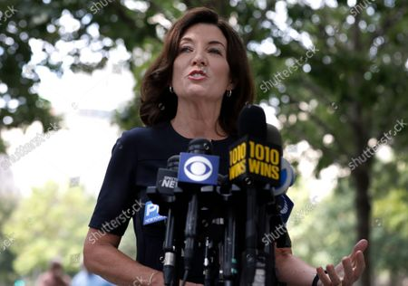 Editorial image of NY Gov. Kathy Hochul, Former NY Mayor Mike Bloomberg, Commemorate 20th Anniversary September 11, New York, USA - 08 Sep 2021
