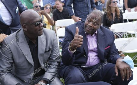 Stock Image of NBA stars Michael Jordan (L) and Patrick Ewing arrive for the  Major League Baseball's Hall of Fame Induction Ceremony 2021 for the 2020 inductees in Cooperstown, New York on Wednesday, September 8, 2021.  Derek Jeter, Ted Simmons, Larry Walker and players' union leader Marvin Miller will be inducted into the HOF during the event.