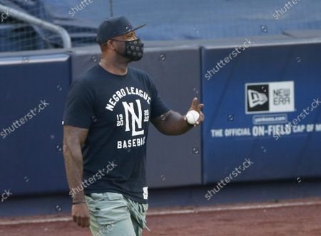 CC Sabathia throws out the first pitch when the New York Yankees play the Boston Red Sox in the Yankees MLB regular season home opener at Yankee Stadium on Friday, July 31, 2020 in New York City.