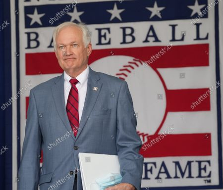 Donald Fehr arrives to accept the plague for the late Marvin Miller during baseball's Hall of Fame Induction Ceremony 2021 for the 2020 inductees in Cooperstown, New York on Wednesday, September 8, 2021.  Derek Jeter, Ted Simmons, Larry Walker and players' union leader Marvin Miller will be inducted into the HOF during the event.