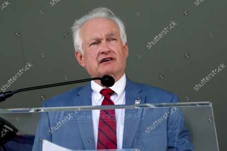 Donald Fehr speaks on behalf of the late Marvin Miller at the Major League Baseball's Hall of Fame Induction Ceremony 2021 for the 2020 inductees in Cooperstown, New York on Wednesday, September 8, 2021.  Derek Jeter, Ted Simmons, Larry Walker and players' union leader Marvin Miller will be inducted into the HOF during the event.