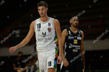 Riccardo Cattapan of Derthona Basket and Johnathan Williams of Aquila Basket Trento during the Supercoppa Italiana match between Derthona Basket and Aquila Basket Trento at PalaFerraris in Casale Monferrato on September 8 2021 in Italy.