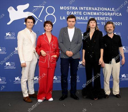 Polish actor Tomasz Zietek, Polish actress Sandra Korzeniak, Polish director Jan P. Matuszynski, Polish actress Agnieszka Grochowska and Polish actor Jacek Braciak  pose at a photocall for 'Zeby Nie Bylo Sladow (Leave no traces)' during the 78th annual Venice International Film Festival, in Venice, Italy, 09 September 2021. The movie is presented in the official competition 'Venezia 78' at the festival running from 01 to 11 September.
