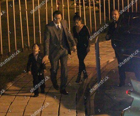 Stock Photo of Nicolas Cage, Alice Kim and thier son Kal-El Cage