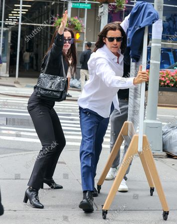 Anne Hathaway and Jared Leto on the film set of 'WeCrashed' TV Series in New York City.