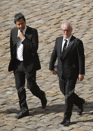 French actor Laurent Gerra (L) and Cannes Film Festival director Thierry Fremaux (R) arrive to the tribute ceremony for late French actor Jean-Paul Belmondo, at the Hotel des Inavlides, France, Paris, 09 September 2021. French actor Jean-Paul Belmondo died on 06 September 2021 at the age of 88 years.