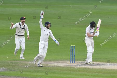 Wicket. 108 - 4. George Garton of Sussex is caught by John Simpson off the bowling of Luke Hollman for 17 during the LV= Insurance County Championship match between Sussex County Cricket Club and Middlesex County Cricket Club at the 1st Central County Ground, Hove