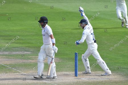 Wicket.  Fynn Hudson-Prentice of Sussex is caught by John Simpson for 67 during the LV= Insurance County Championship match between Sussex County Cricket Club and Middlesex County Cricket Club at the 1st Central County Ground, Hove