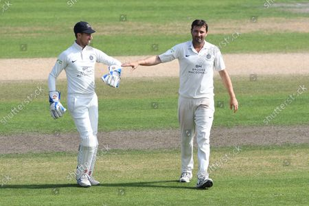 Wicket. 278 - 8.Tim Murtagh is congratulated by John Simpson after dismissing Delray Rawlins  during the LV= Insurance County Championship match between Sussex County Cricket Club and Middlesex County Cricket Club at the 1st Central County Ground, Hove