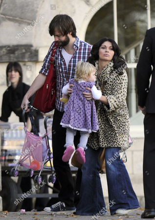 Stock Picture of Alison King with daughter Daisy Mae and partner Adam Huckett