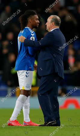 Evertons manager Rafael Benitez with Alex Iwobi of Everton at the end of the match winning 3-1