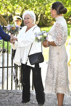 Princess Christina, Mrs Magnuson, and Crown Princess Victoria arrive at SWEA International's Swedish Woman of the Year Award ceremony held at Millesgarden in Stockholm, Sweden, on September 09, 2021.