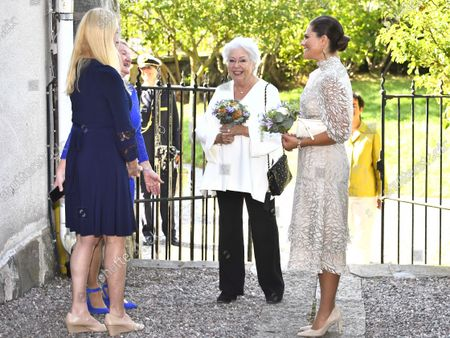 Stock Image of Princess Christina, Mrs Magnuson, and Crown Princess Victoria arrive at SWEA International's Swedish Woman of the Year Award ceremony held at Millesgarden in Stockholm, Sweden, on September 09, 2021.
