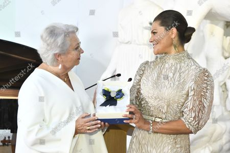 Crown Princess Victoria receives SWEA International's Swedish Woman of the Year Award from Princess Christina, Mrs Magnuson, during a ceremony held at Millesgarden in Stockholm, Sweden, on September 09, 2021.