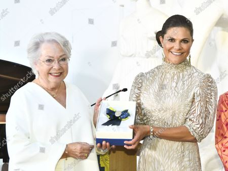 Stock Picture of Crown Princess Victoria receives SWEA International's Swedish Woman of the Year Award from Princess Christina, Mrs Magnuson, during a ceremony held at Millesgarden in Stockholm, Sweden, on September 09, 2021.